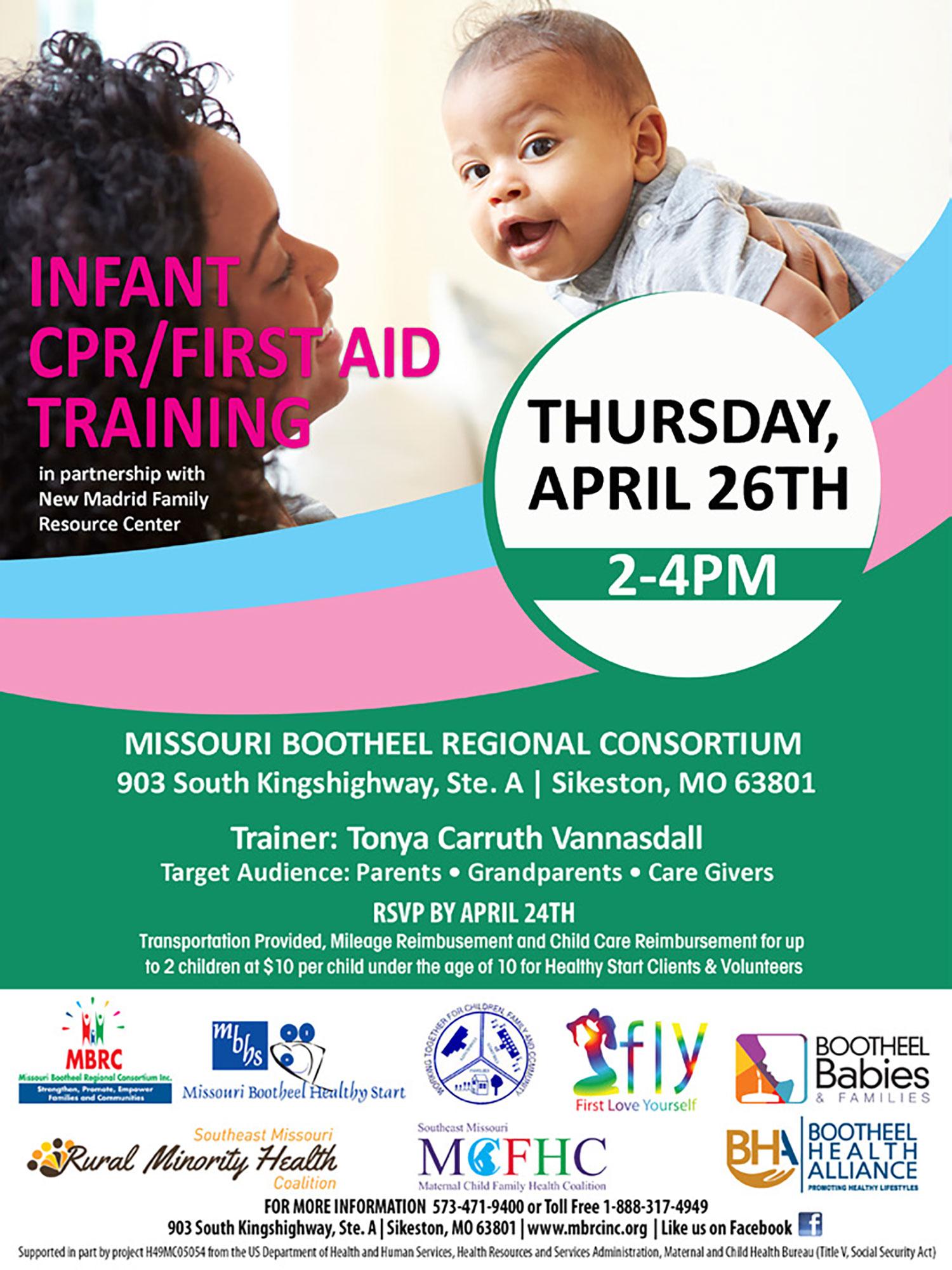 Infant CPR/First Aid Training @ Missouri Bootheel Regional Consortium | Sikeston | Missouri | United States